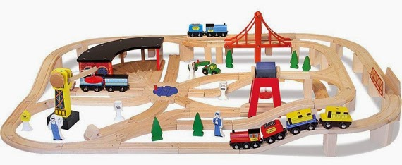Melissa and Doug deluxe train set - plastic free toys for three year old and four year old boys