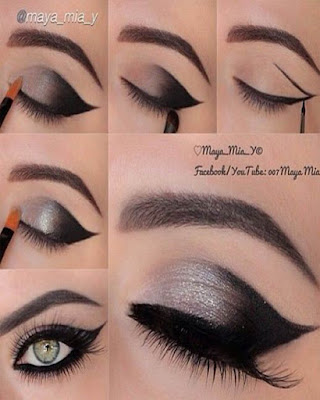 maquillaje negro elegante degradado cola de gato
