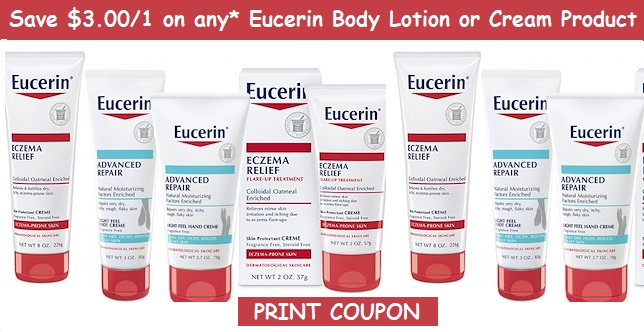 graphic regarding Eucerin Printable Coupon titled Eucerin Discount coupons Help you save $3.00/1 Eucerin Human body Lotion - PRINT