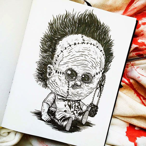 10-Leatherface-Alex-Solis-Baby-Terrors-Drawings-Horror-Movie-Villains-www-designstack-co