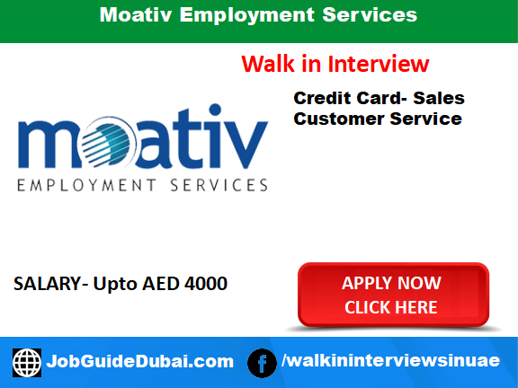 Job in Dubai for Credit Card Sales and Customer Service
