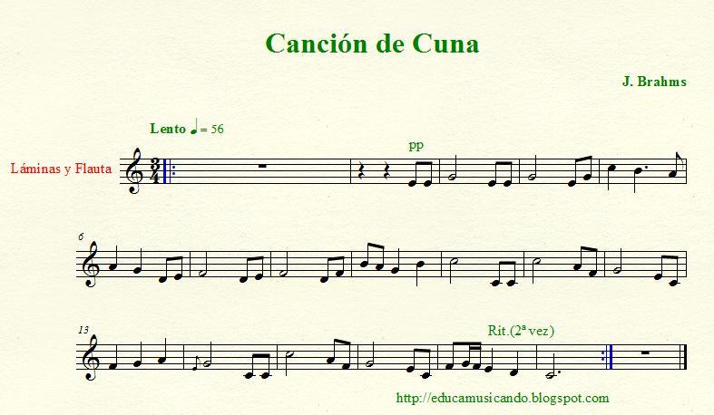 Da clave di sol partituras for Cancion de cuna de brahms