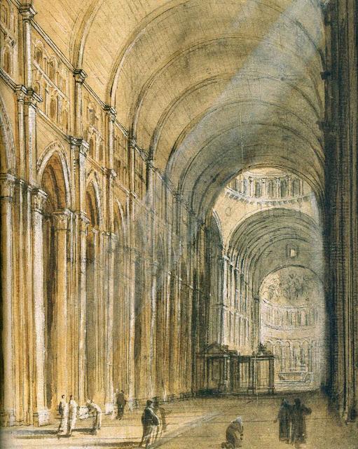 Croquis da nave central de Cluny antes da demolição revolucionária. Jean-Baptiste Lallemand, 1771-1780.