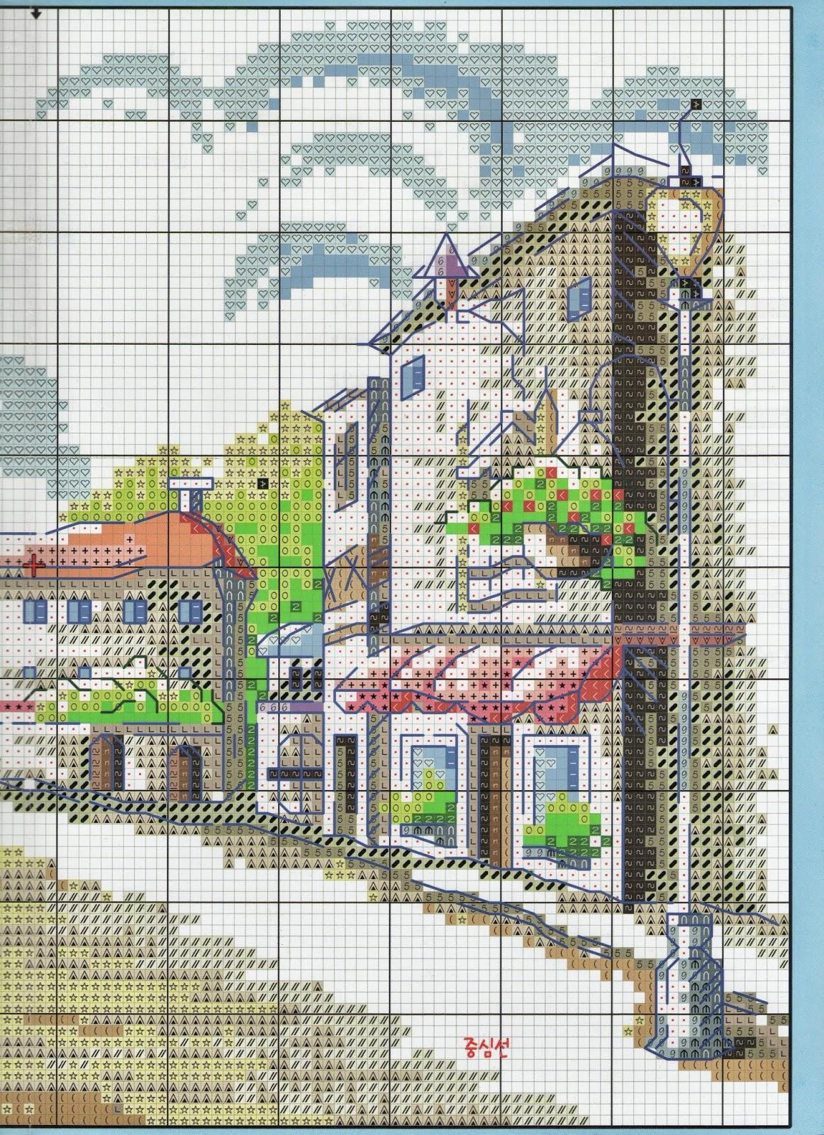 Ricami e schemi a punto croce gratuiti paesaggio urbano a for Schemi a punto croce gratis