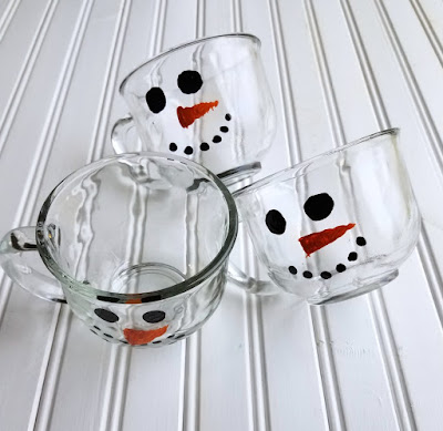 3 hand painted snowman mugs