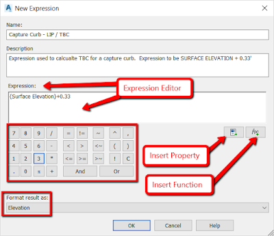 Creating a new expression in Civil 3D from Autodesk
