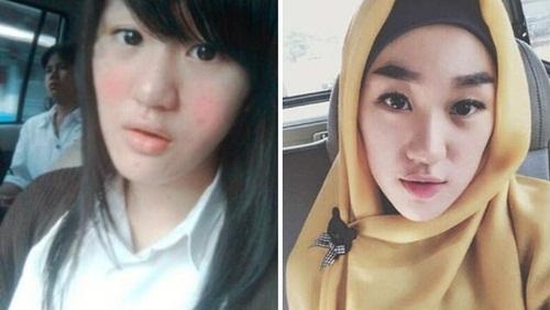 foto larisa sebelum dan sesudah make hijab