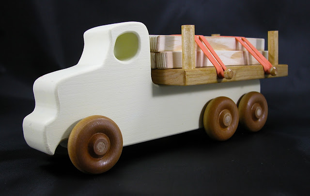 Etsy Listing 691678874 - Wooden Toy Truck Quick N Easy 5 Truck Fleet Lumber Truck Yellow Amber Shellac Pine White Oak Birch