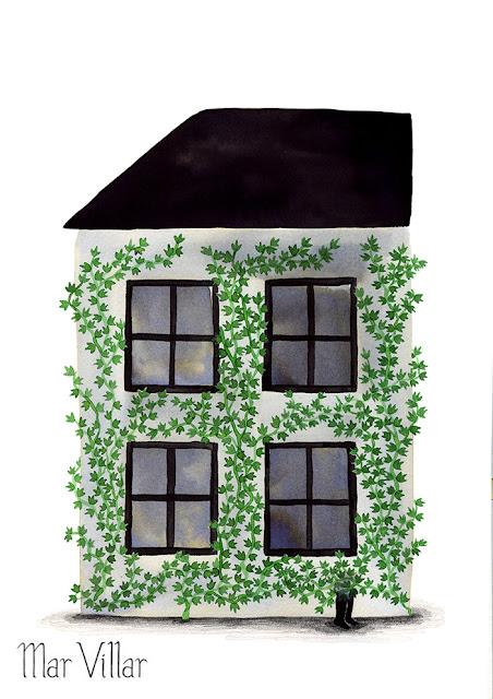 Inktober, Inktober 2016, plantas, hiedra, casa, escondido,pies, ilustración a tinta, tinta, aguada de tinta, quink, tinta parker