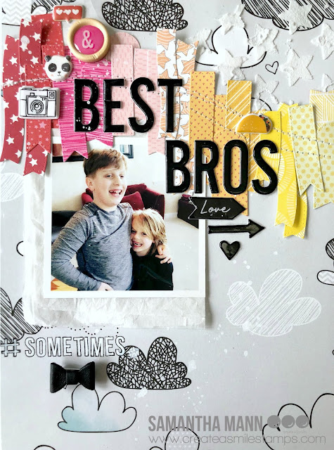Best Bros (sometimes!) Layout by Samantha Mann for Create a Smile Stamps, Scrapbook Layout, Mixed Media, Rainbow, embossing paste, stencil #createasmile #layout #mixedmedia #stitching