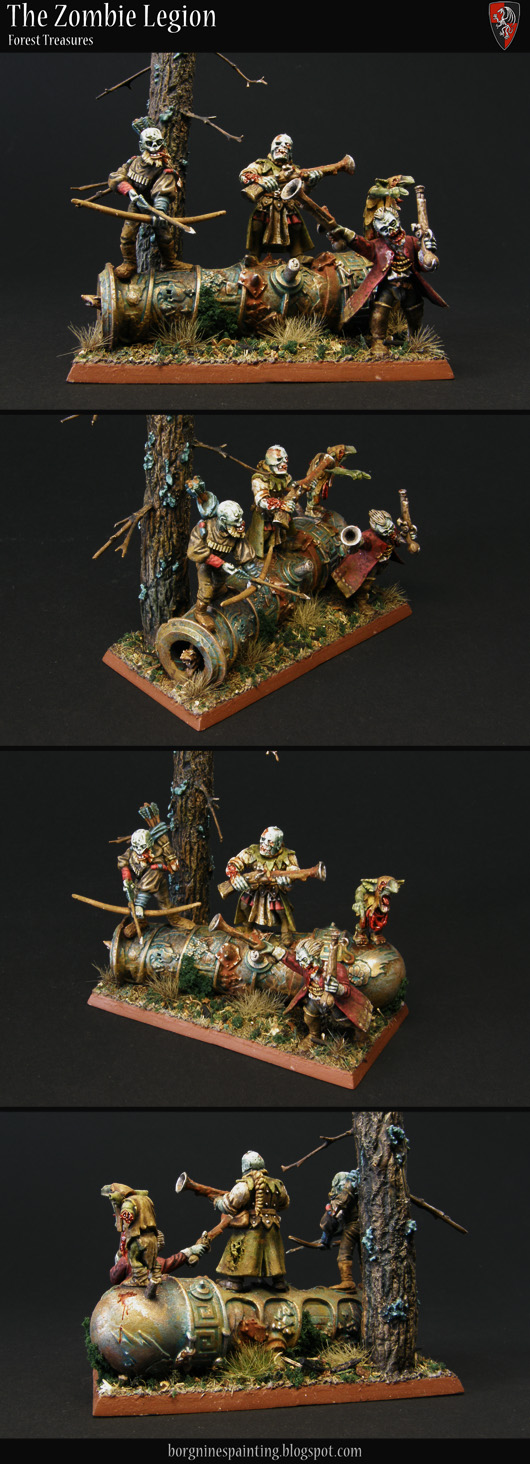 Several Zombie miniatures standing on an old and weathered Ogre Leadbelcher Cannon, wielding firearms, creating a small diorama to be used a unit filler - with a scratchbuilt tree also on the base - visible from several angles.