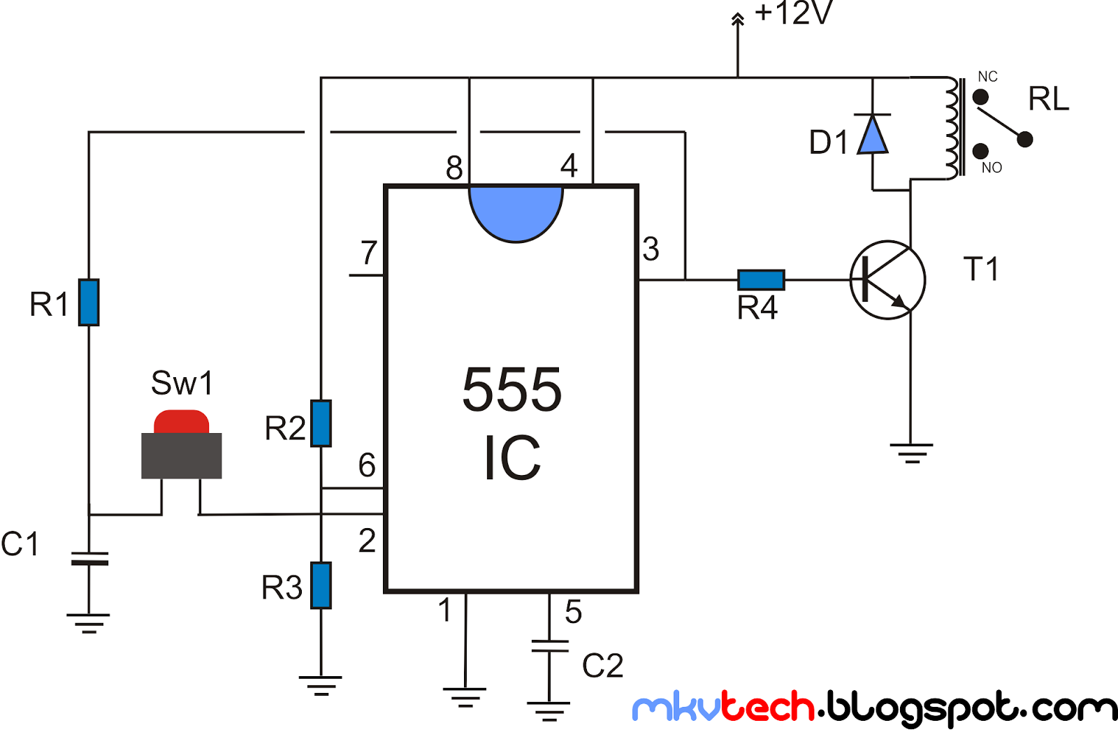 latching relay using 555 timer latching circuit with reset button relay circuit diagram [ 1600 x 1068 Pixel ]