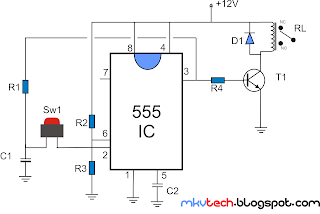 Simple Relay Toggle Using 555 Ic Timer Circuit Diagram - Wiring