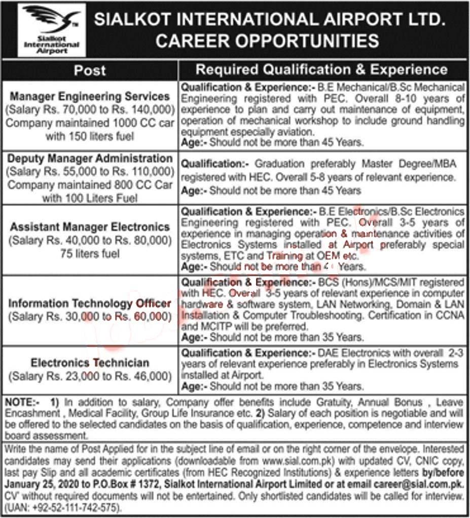 Jobs In Sialkot International Airport 2020 Online Apply