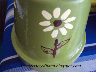 Eclectic Red Barn: Flowers Painted on Clay Pot