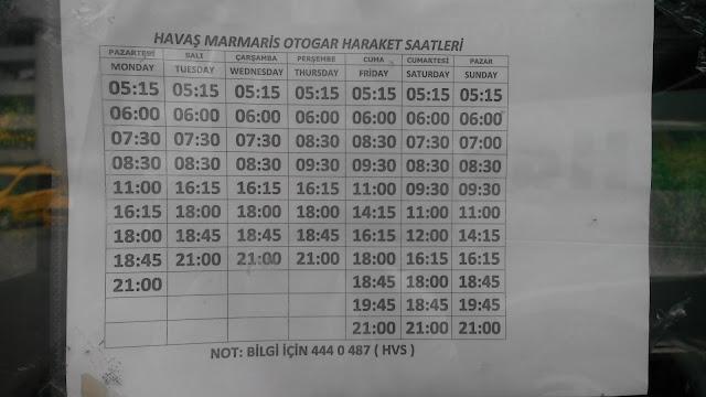 Расписание движения автобусов HAVAS из Мармариса в аэропорт Даламан.