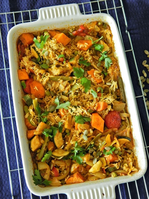 Garden Biryani  This is a perfect mid-week recipe that is easy to prepare- and the oven does all the hard work. It's also cooked in one pot, so less washing up!