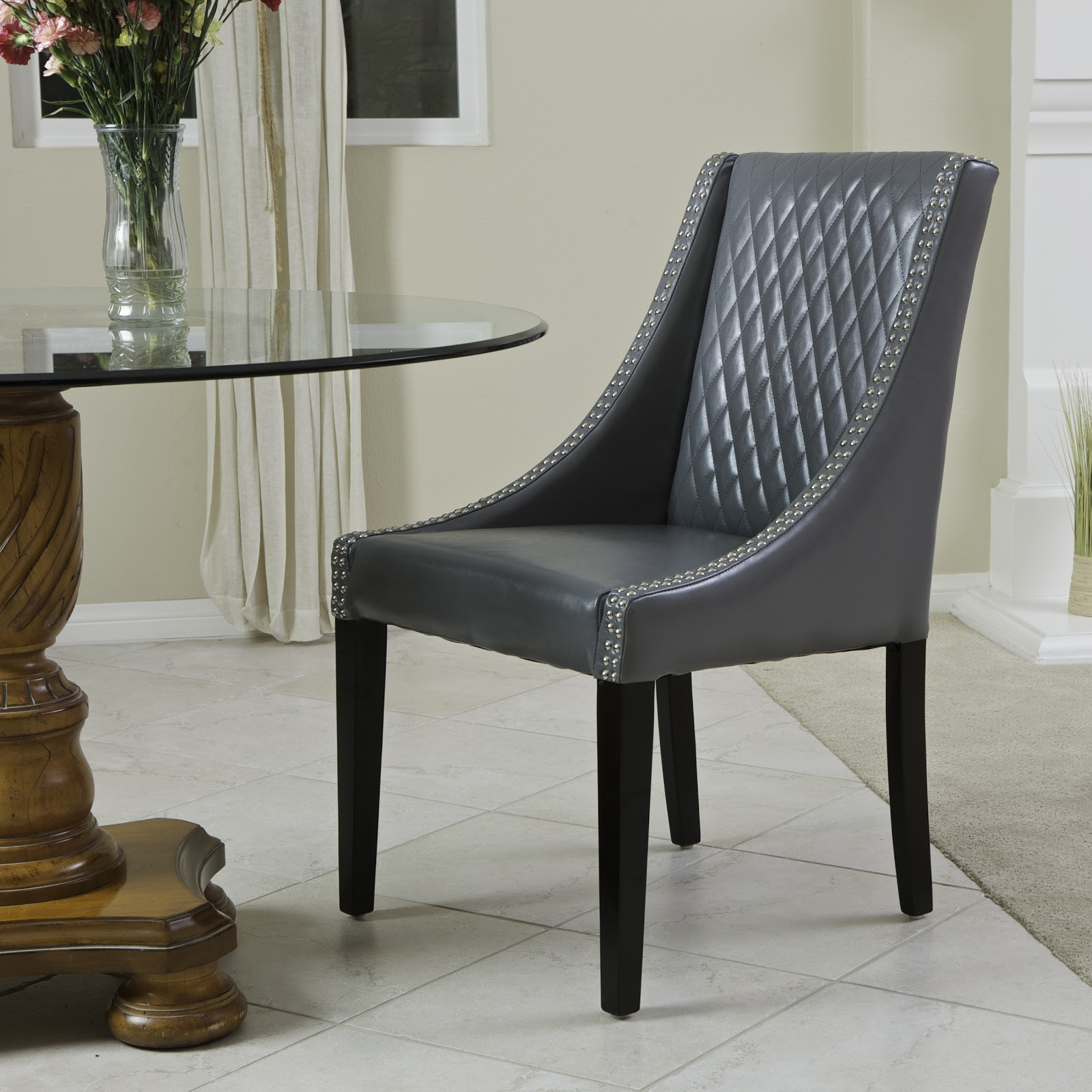 Leather Dining Chairs With Nailheads Charm Them At Hello Trend Alert Diamond Quilted Pattern