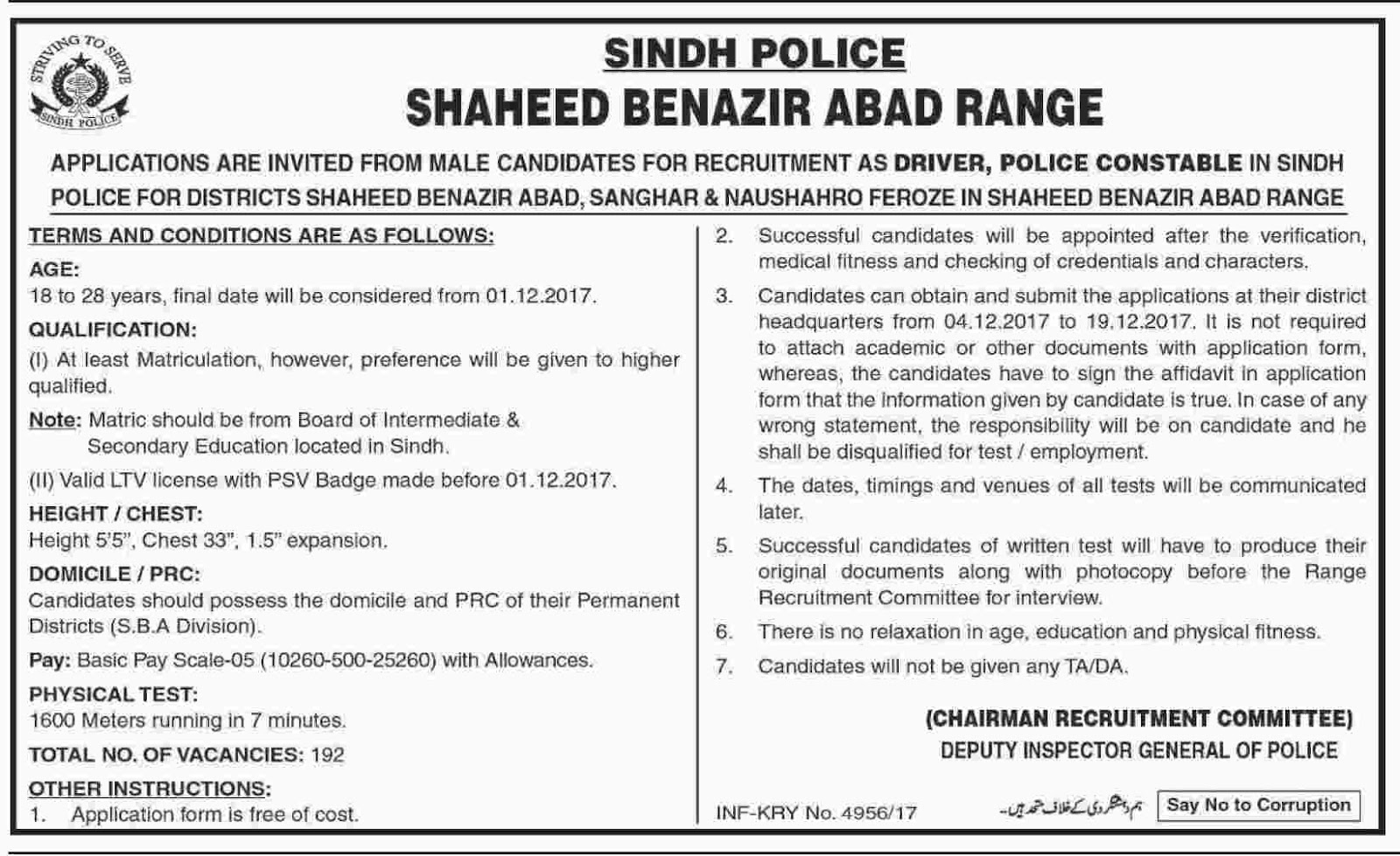 Jobs In Sindh Police Nawabshah Range Dec 2017