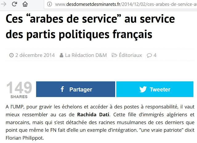"""Des Dômes et Des Minarets et un de ces sites islamistes qui usent de propos racistes comme """"arabe de service"""" pour cibler les """"traîtres""""."""