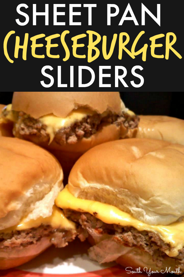 Cheeseburger Sliders! An easy sheet pan recipe for cheeseburger sliders made in the oven that cooks in one big batch and tastes just like White Castle burgers!