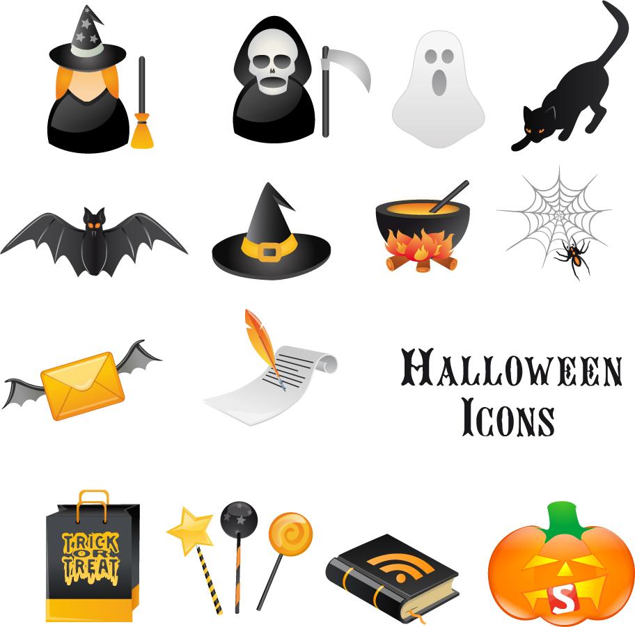 ハロウィン用のクリップアート halloween skull ghost horror icons イラスト素材 ...