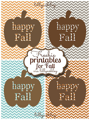 Freebie Fall Pumpkin Chevron Printables via LillyAshley
