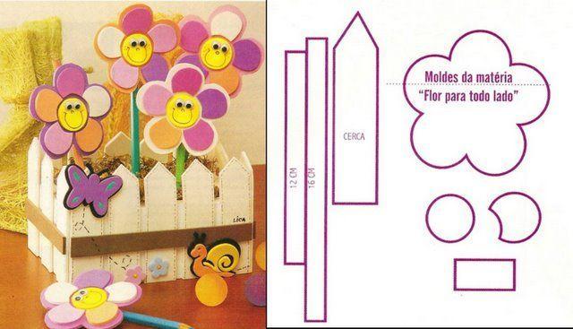manualidad para lo pequeños de la casa, flores de primavera con moldes para imprimir