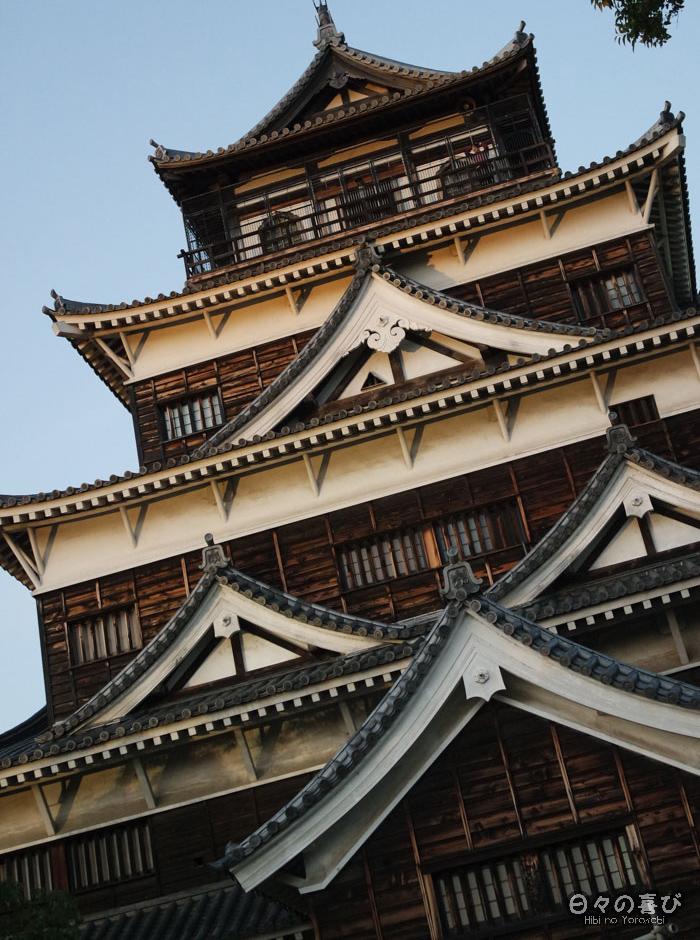 Façade bardée de bois, château d'Hiroshima, Hiroshima-shi