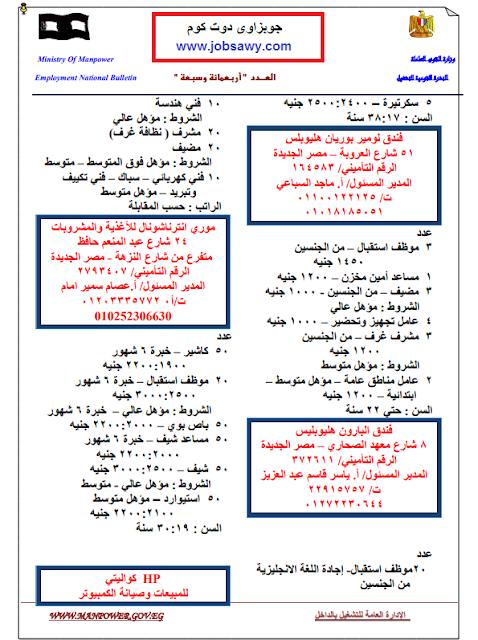 وظائف خالية - وظائف وزارة القوى العاملة والهجرة - نشرة وظائف القوى العاملة 2019