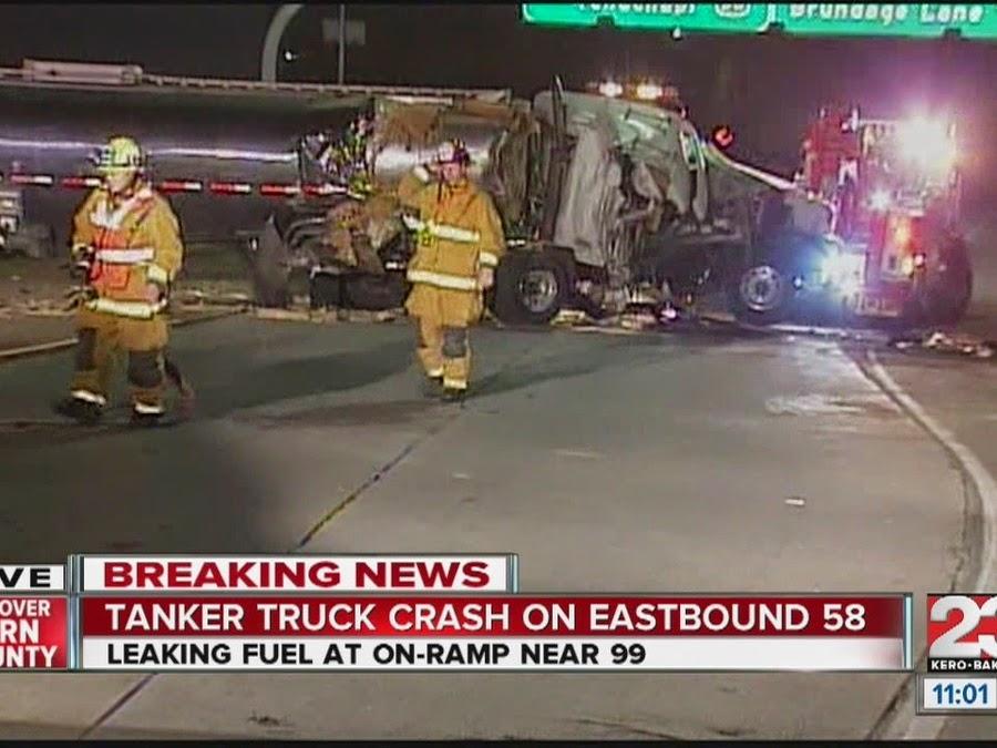 semi truck accident crash highway 99 58 kern county bakersfield diesel fuel leak