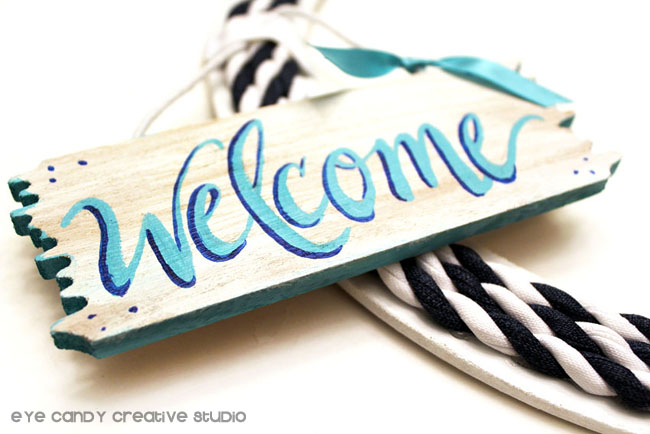 hand lettered welcome sign, nautical wreath making, how to make a wreath