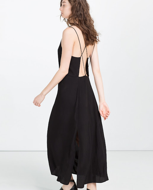zara black open back dress,