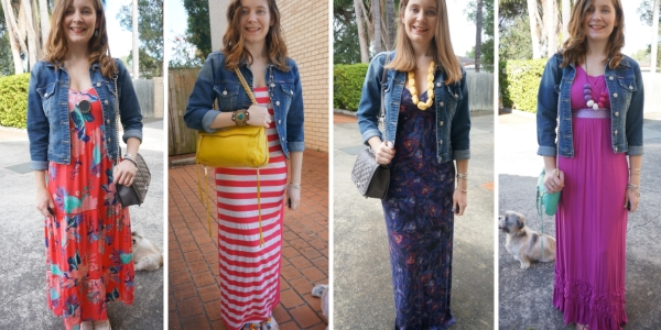 printed maxi dresses and denim jacket 4 ways to wear spring SAHM outfit ideas | AwayFromBlue