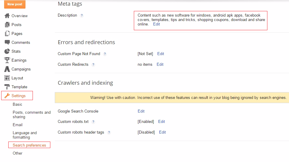 "To change blogger default Search Preferences Settings go to ""setting"" then ""Search Preference"" respectively"