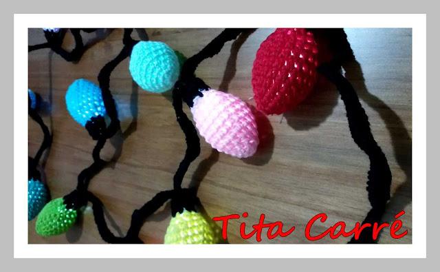 Lâmpadas em crochet que acendem