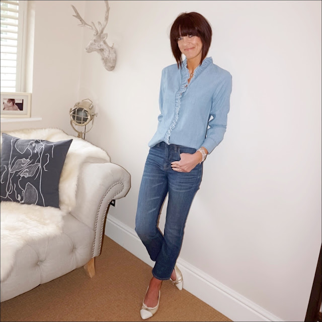My midlife fashion, isabel marant light blue denim ruffle shirt, j crew billie cropped kick flare jeans, j crew pointed two tone metallic ballet pumps