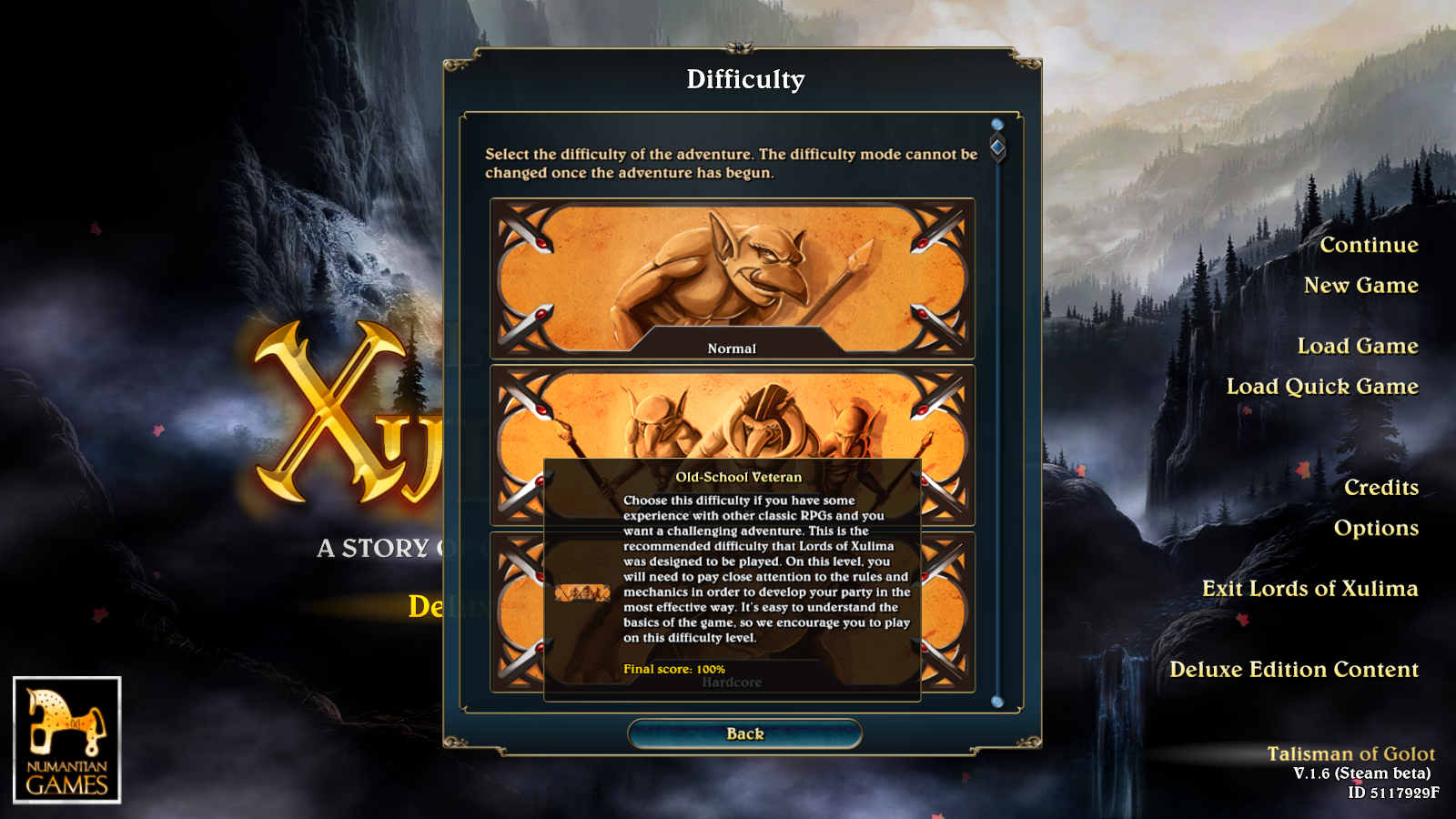 Oldschool-veteran difficulty setting in Lords of Xulima.