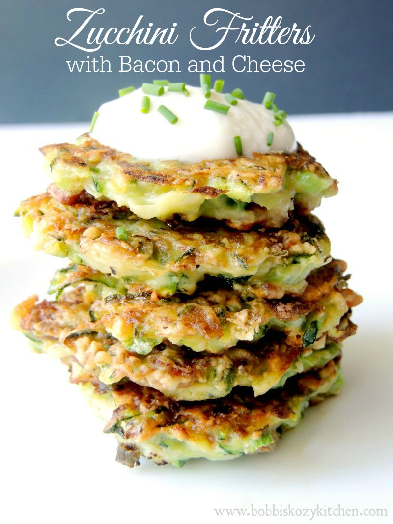 These amazing zucchini fritters use freshly grated zucchini fried up crisp with crumbled bacon, cheese, and green onion. The perfect side for any breakfast or brunch. Low-carb and gluten-free in the recipe! #zucchini #fritter #patty #breakfast #Brunch #Bacon #cheese #sidedish #easy #recipe #Lowcarb #keto #glutenfree | bobbiskozykitchen.com