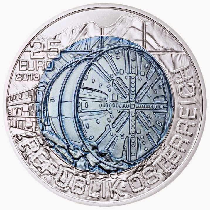 Austria 25 Euro Silver Niobium Coin 2013 Tunnel Construction