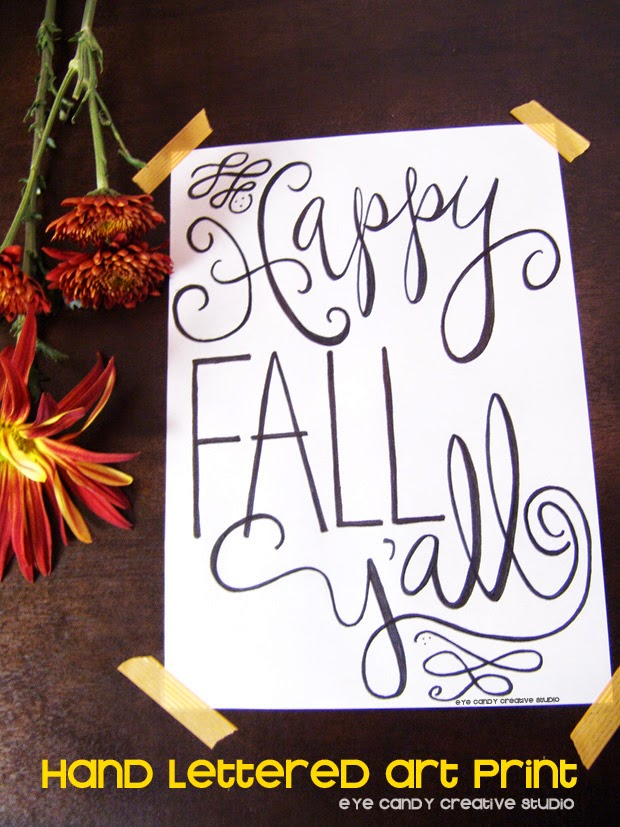 hand lettered art print, fall art print, fall art, hand lettering, happy fall