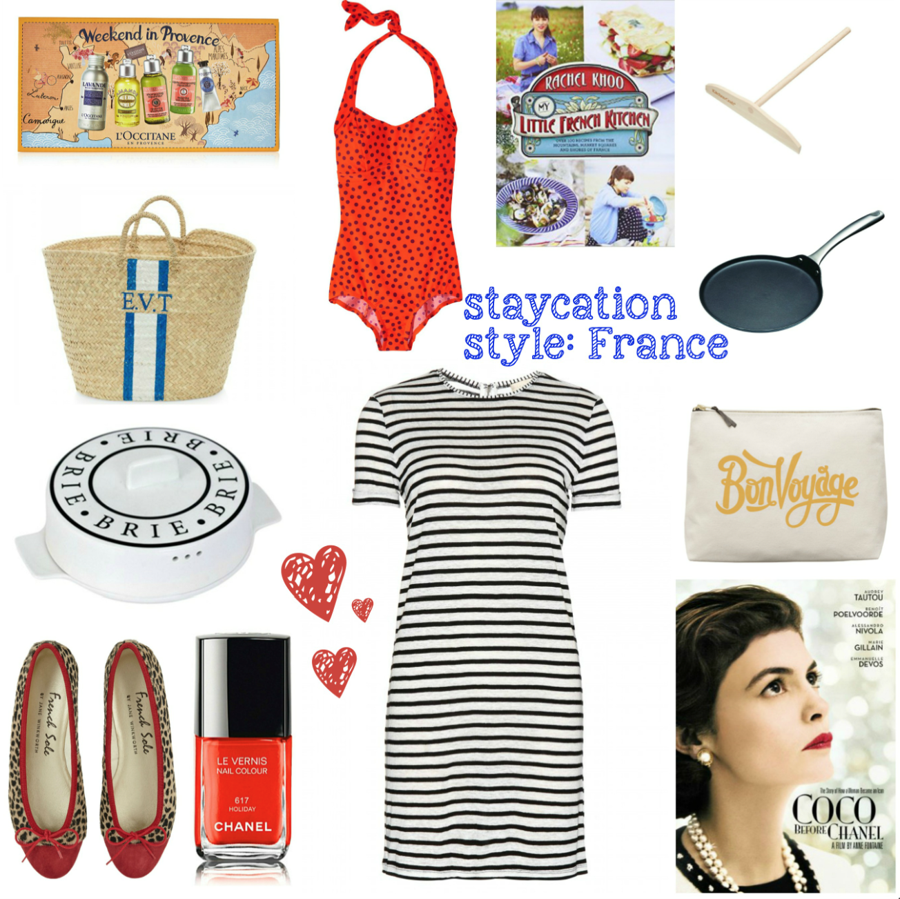 mamasVIb | V. I. BABYMAMAS: How to take a stylish holiday …at HOME! Part 2 | holiday at home | stay cation | holiday style | holiday fashion | shopping | fashion | holiday | vacation | weekend in provence | loccitane | marsk and spencer | M&S | toast | polka dot swimsuit | are feather | rachel Khoo | france | french } french holiday | paris paris style | french fashion | french sole | ballet pumps | crepe pan crepe spreader | chanel | coco chanel | alice and olivia | stripe dress | alphabet bags | bon voyage bag | brie baker | french holiday | holiday at home