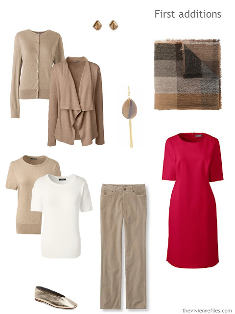 six additions to a business wardrobe in shades of brown with red and orange accents