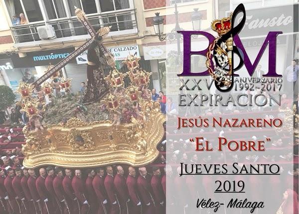 """La Banda de la Expiración acompañará a Nuestro Padre Jesús Nazareno """"El Pobre"""" de Vélez-Málaga el próximo Jueves Santo"""