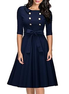 3/4 Sleeve Navy Style Belted Retro Evening Dress