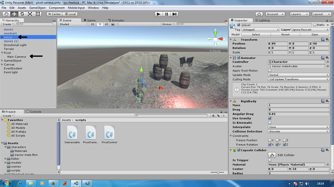 Third person camera with free look in Unity3D