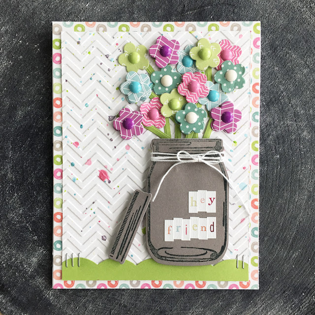 Sunny Studio Stamps: Vintage Jar Flower Bouquet Friend Card by Laura Vegas