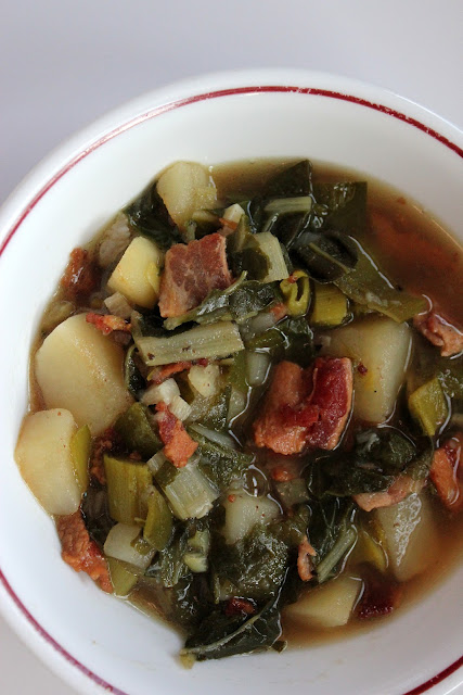Try our better-for-you potato and bacon soup. It's loaded with green stuff -- and flavor!