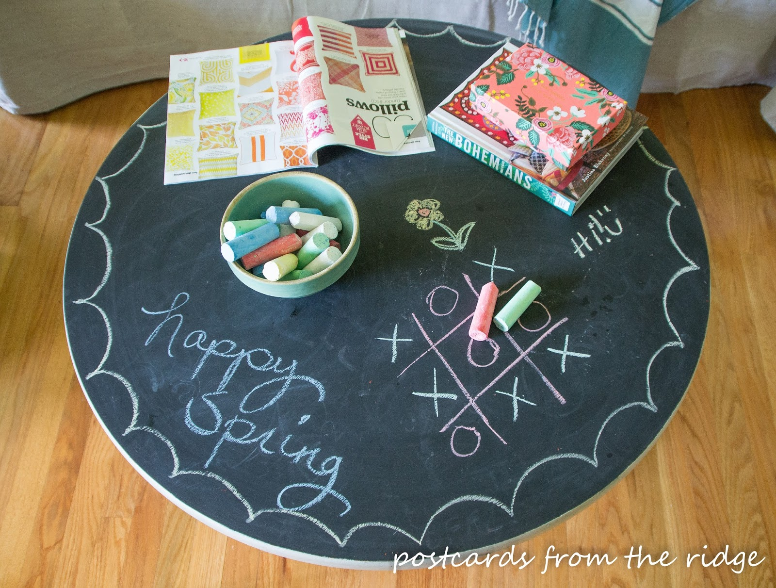 Pedestal Table with chalkboard painted top inspired by Pottery Barn