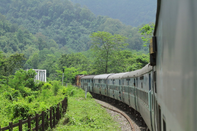 Vivek express india's longest train going through the lush forests of Assam